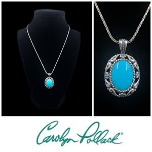 Carolyn Pollack 925 Sterling Silver Turquoise Pendant Necklace